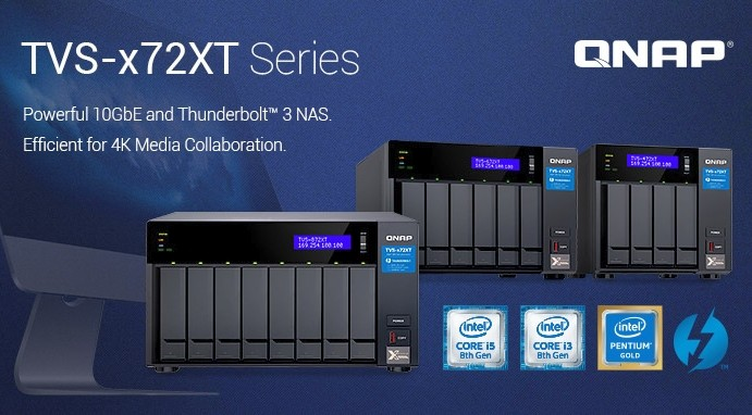 QNAP unleashes the TVS-x72XT NAS, 8th gen Intel Core processors and
