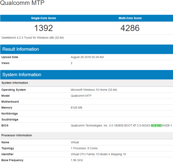 Geekbench listing of the Snapdragon 1000. Note the SC8180 highlighted in green. (Source: Winfuture)