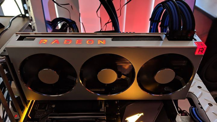 The AMD Radeon VII graphics card being tested. (Source: Twitter/TweakTown)