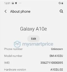 Samsung Galaxy A10e spotted, details still shady (Source: MySmartPrice News)