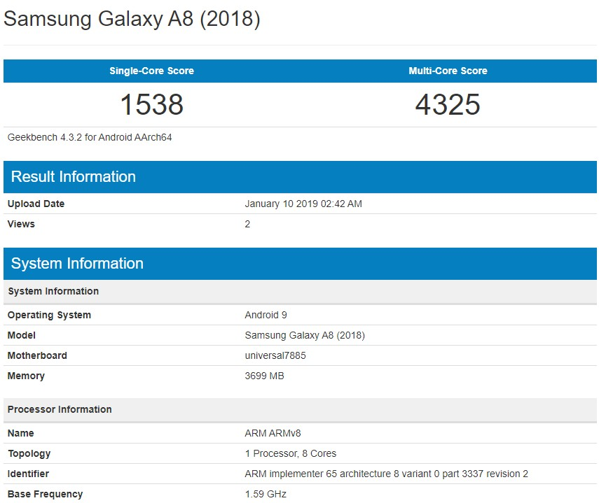 Samsung Galaxy A8 (2018) running Android Pie spotted on Geekbench