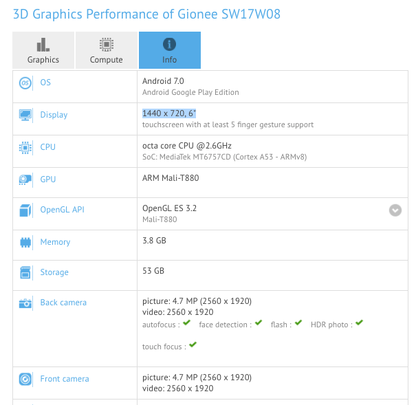 The Gionee SW17W08 specs found in GFXBench. (Source: GFXBench)