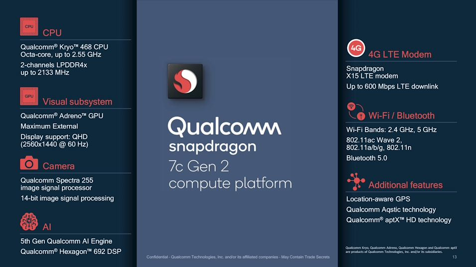 Qualcomm Snapdragon 7c Gen 2 launched for entry-level PCs and Chromebooks  with a minor clock bump over its predecessor - NotebookCheck.net News
