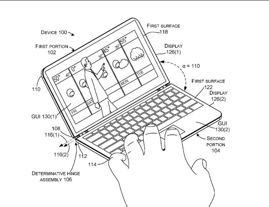 microsoft u0026 39 s surface phone to turn into mini laptop via  u0026quot determinative hinge u0026quot  patent