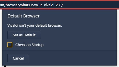 Vivaldi 2.8 now performs a default browser check at startup (Source: Own)