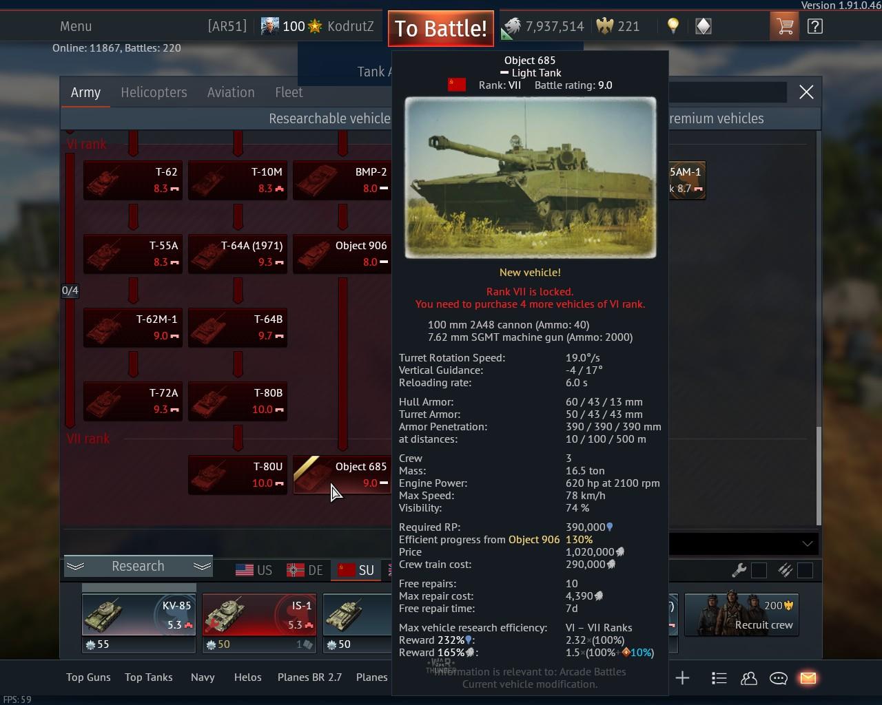 War Thunder matchmaking Chart