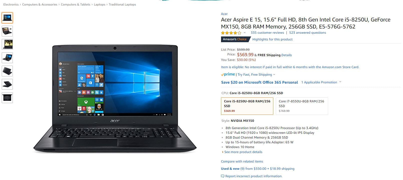 The Acer Aspire E 15 with a Core i5-8520U, MX150, and 256 GB
