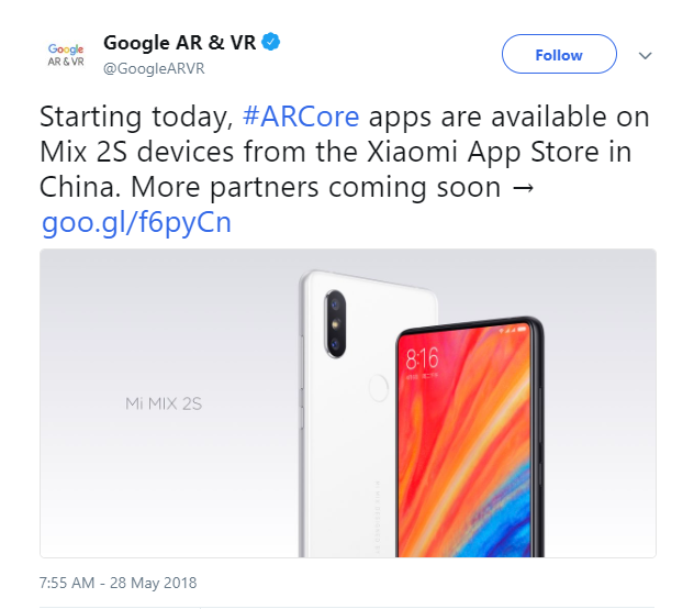 Google ARCore apps will be available in the Xiaomi App Store in China. (Source: Google AR & VR on Twitter)