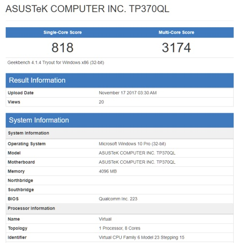 Benchmark scores for the Asus ARM-powered notebook (Source: Geekbench)