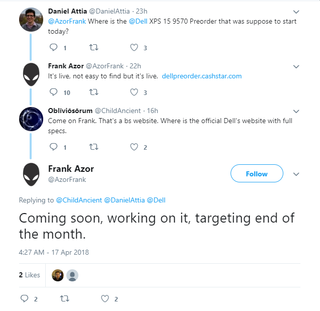 The Dell XPS 15 9570 should be available by end of April. (Source: Frank Azor on Twitter)