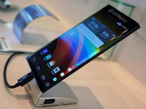 LG prototype of smartphone with a curved OLED display