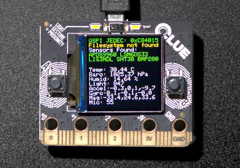 Adafruit Clue: An affordable Arduino-alternative that comes with an IPS display and several sensors