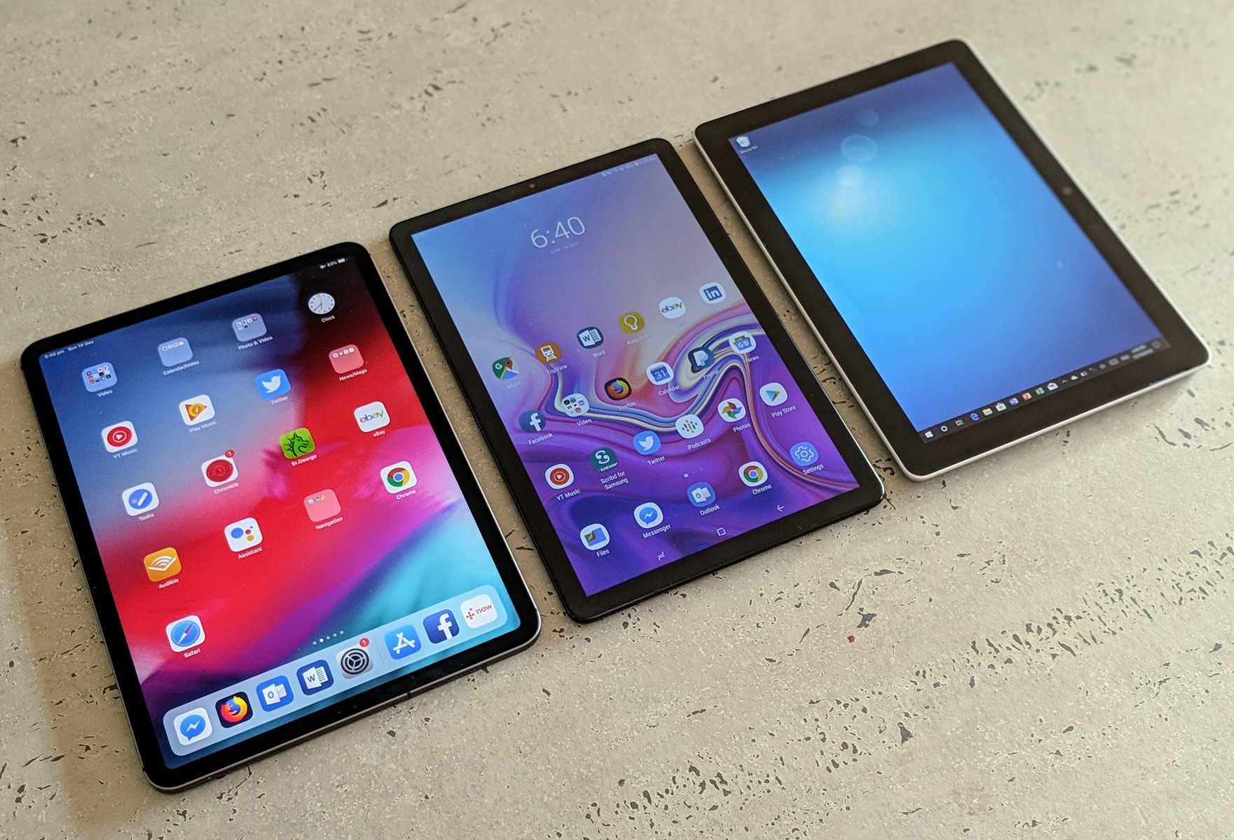 Three Way Shootout Ipad Pro 11 Galaxy Tab S4 And Surface