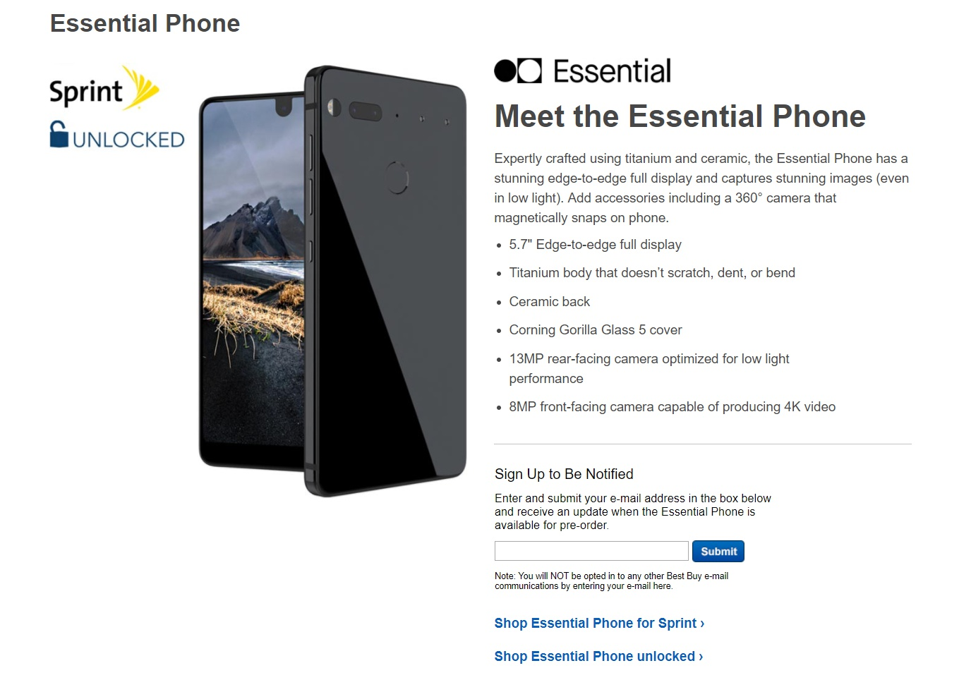 Essential Phone Shows Up On Best Buy Website Notebookchecknet News
