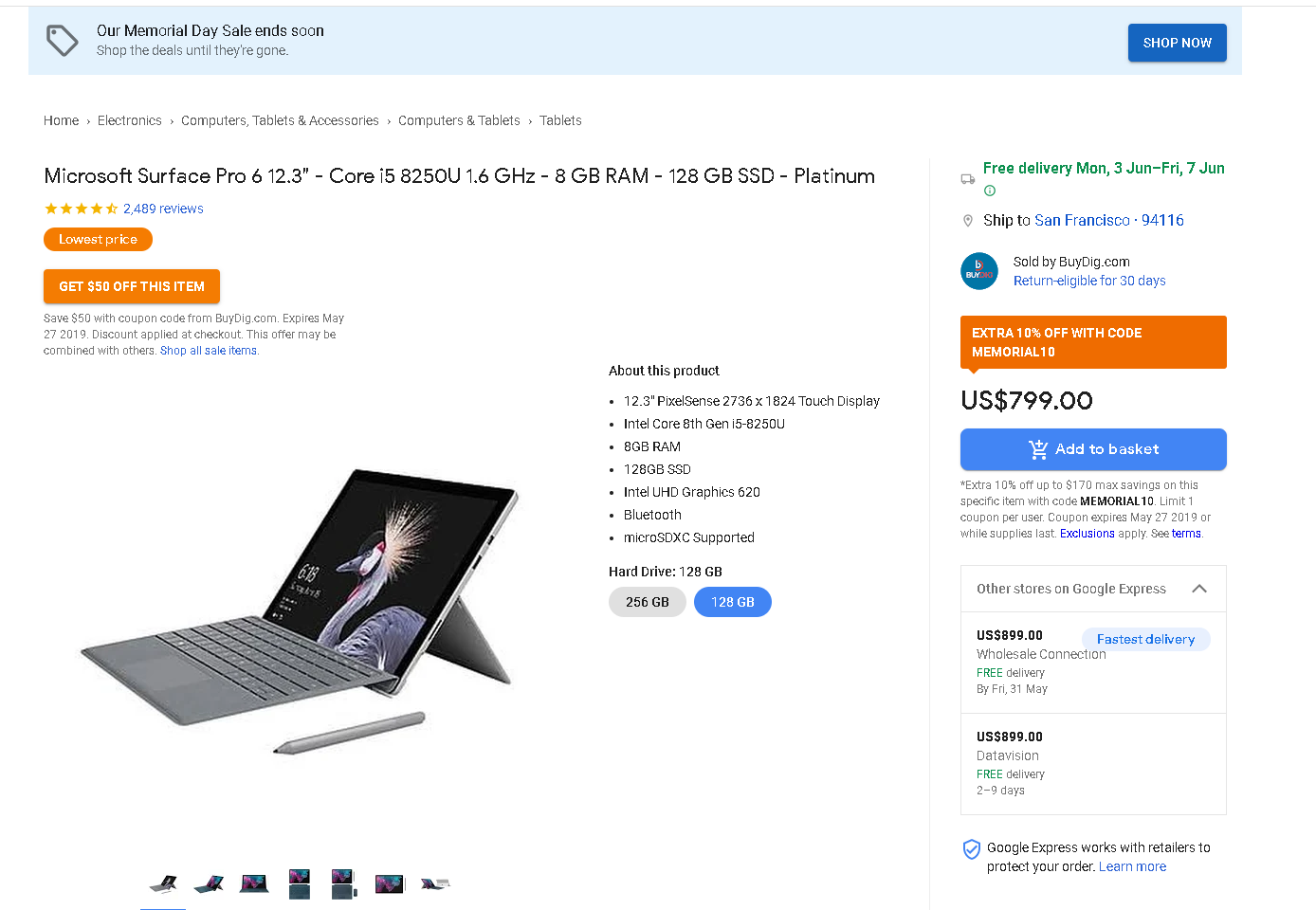 Microsoft Surface Pro 6 with Core i5, 8 GB RAM, and 128 GB