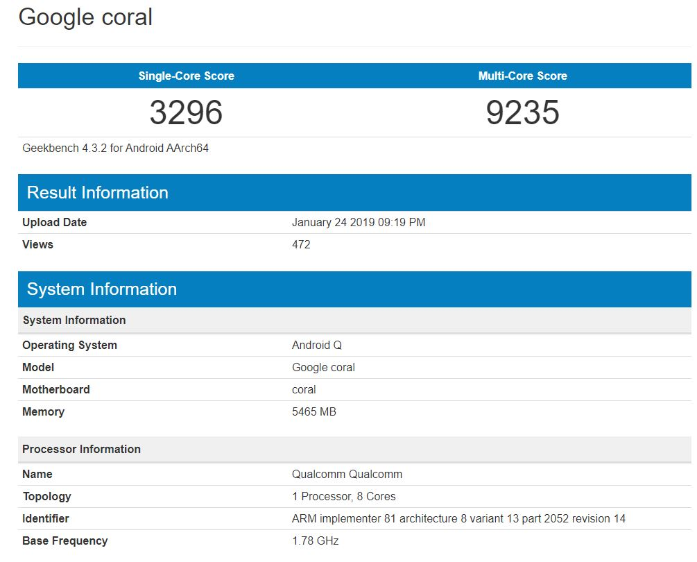 Google 'Coral' With Android Q, Snapdragon 855, 6GB RAM Visits Geekbench