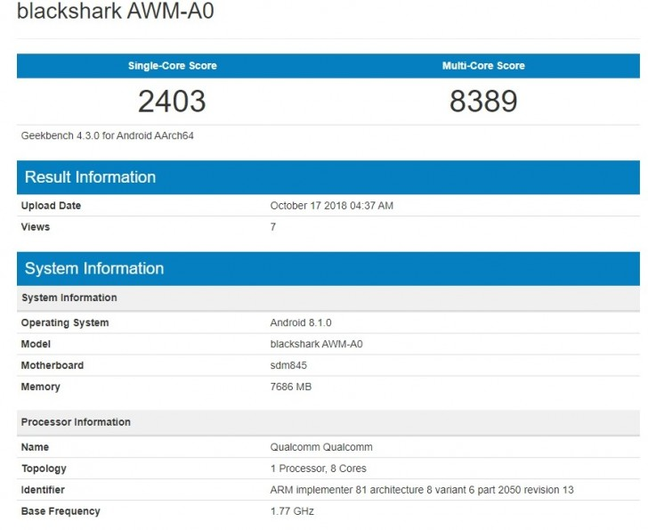 Geekbench scores and hardware info (Source: Geeekbench)