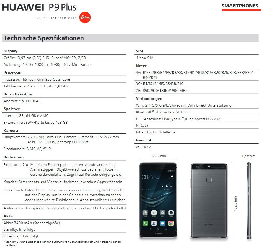 huawei p9 info