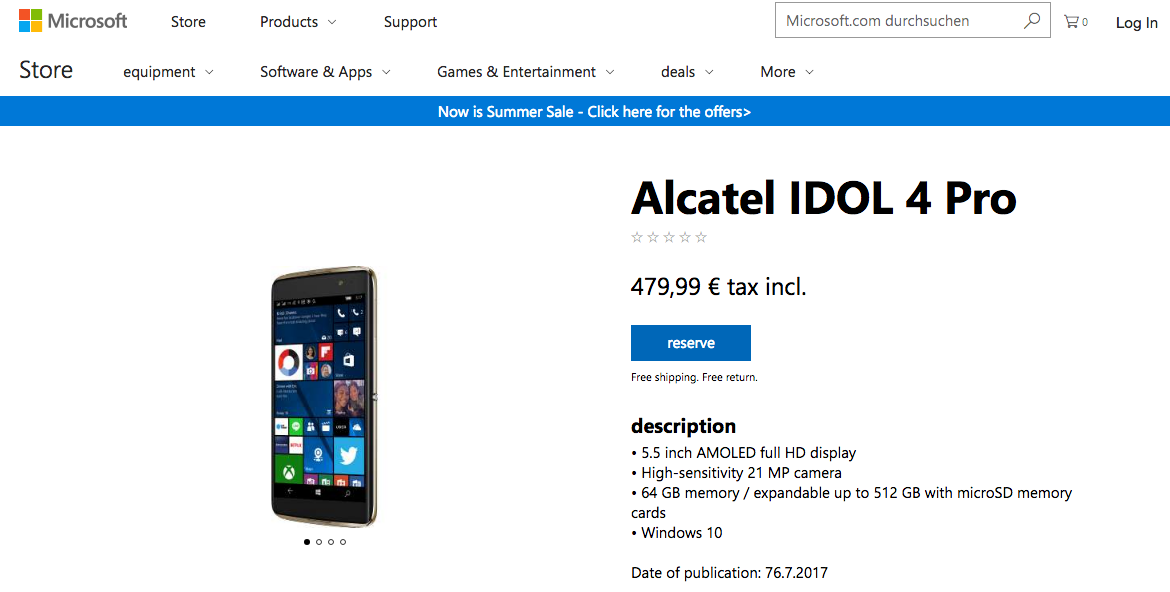 Alcatel Idol 4 Pro available for pre-order in Europe