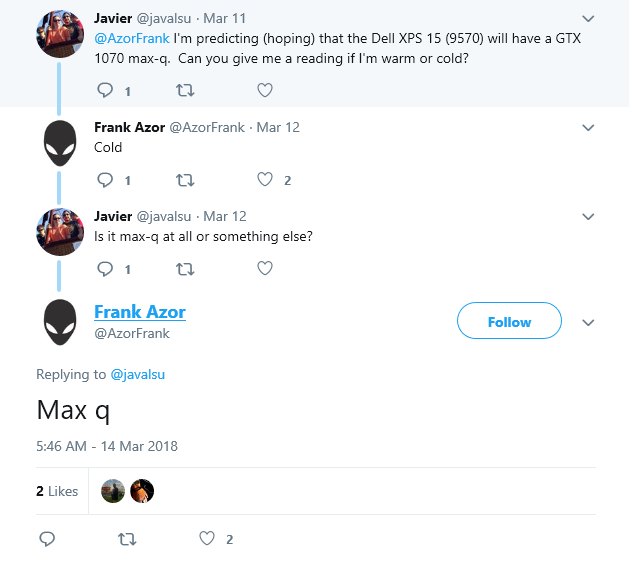 An NVIDIA MaxQ GPU will grace the XPS 15 9570. (Source: Frank Azor / Twitter)