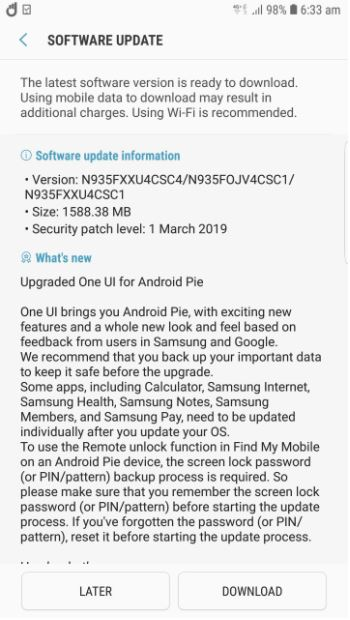 The Samsung Galaxy Note FE is now receiving the Android Pie