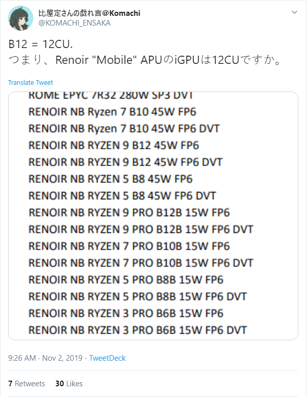 AMD Ryzen 4000 Renoir variants. (Source: Komachi on Twitter)