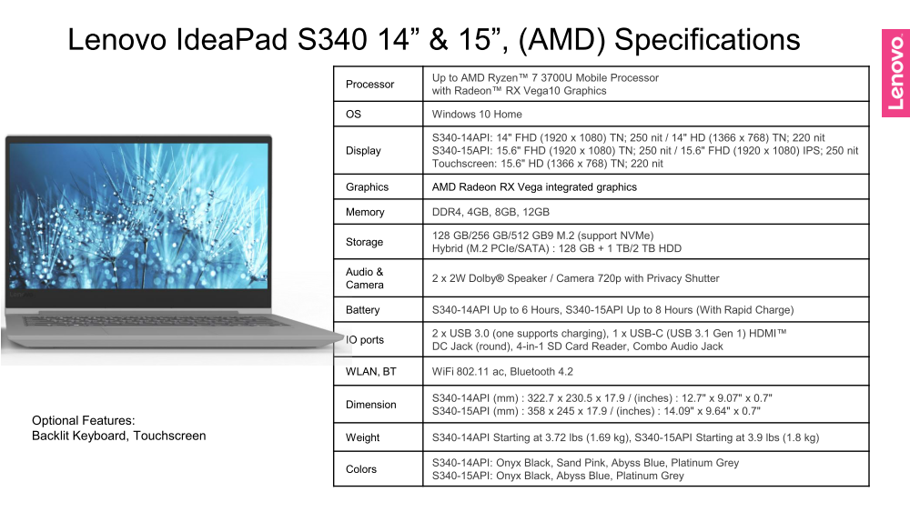 Lenovo Ideapad S340 And S540 With Amd Ryzen Zen Will