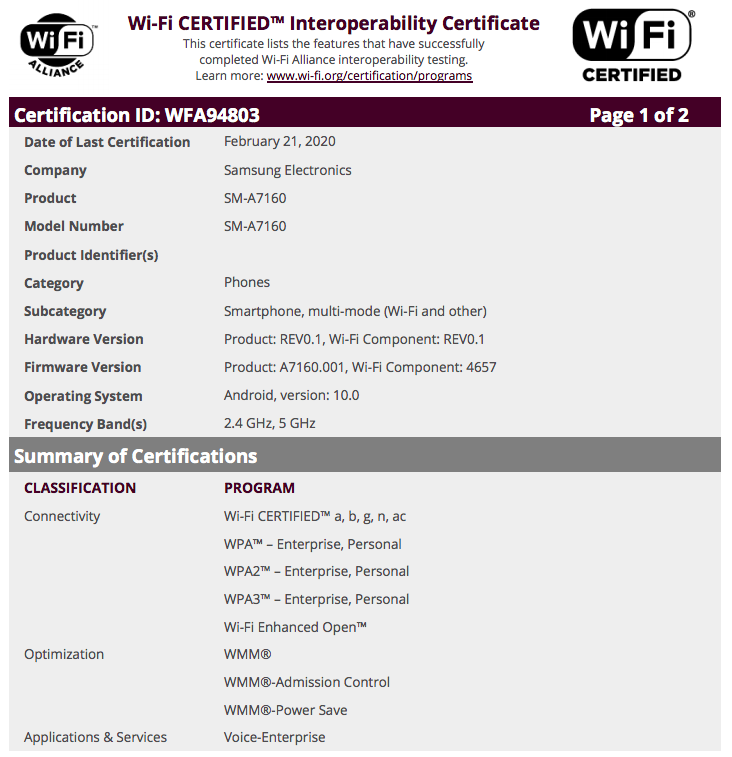 The 'new' A71's certification. (Source: Wi-Fi Alliance via MySmartPrice)