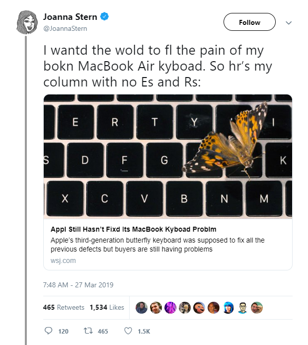 A screenshot from Stern's Twitter post of her keyboard article. (Source: Twitter)