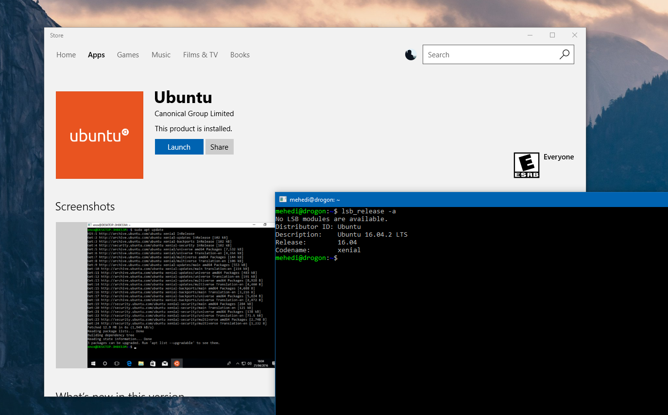 Ubuntu now available for download in the Windows Store