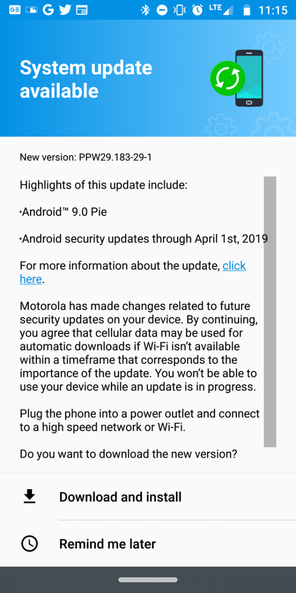 moto z2 force android 9