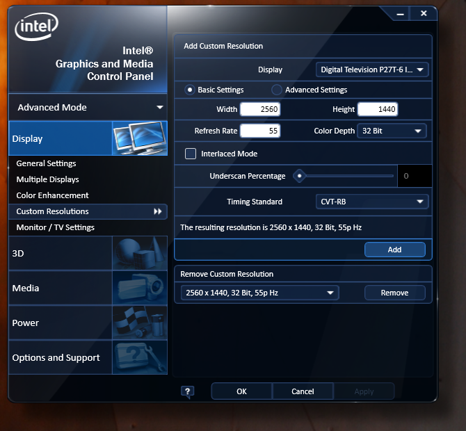 Driver settings to manually add the 2560x1440@55 p resolution
