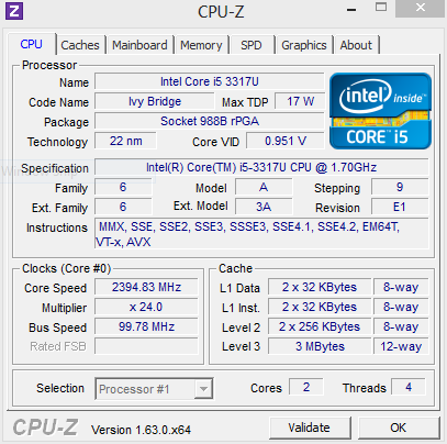 Systeminfo CPUZ Cache