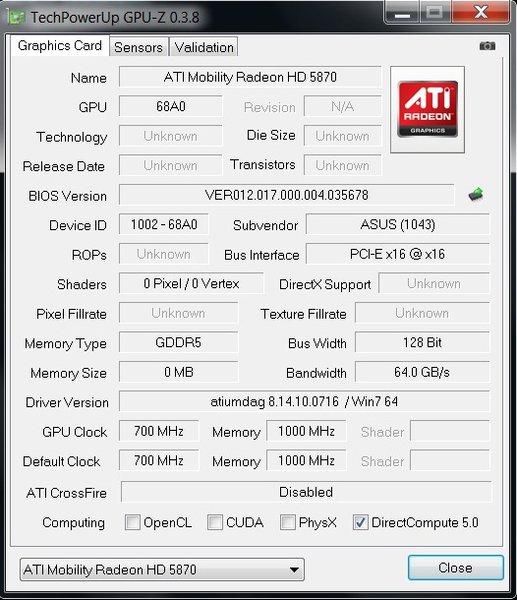 DRIVERS UPDATE: ATI MOBILITY RADEON HD 5870 ASUS