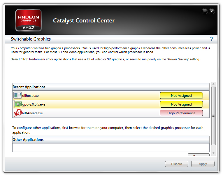 NEW DRIVER: CATALYST SWITCHABLE GRAPHICS