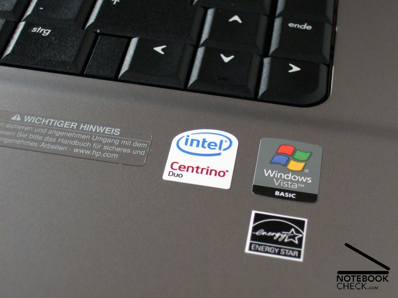 The sticker gives it away: A powerful Intel processor lives inside this  notebook,.