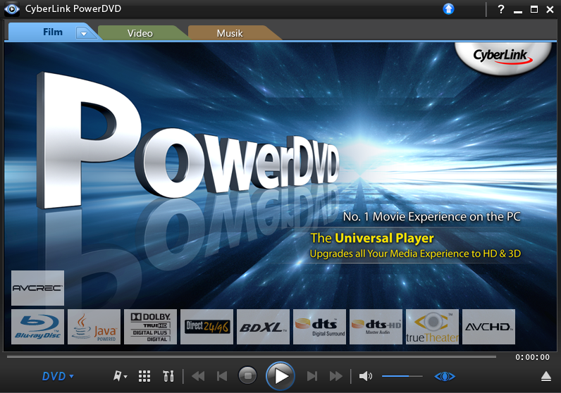 PowerDVD for Blu-ray playback.