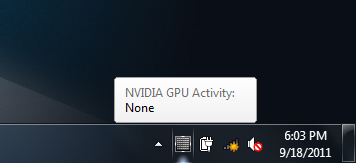 Certainty thanks to taskbar icon: GPU inactive
