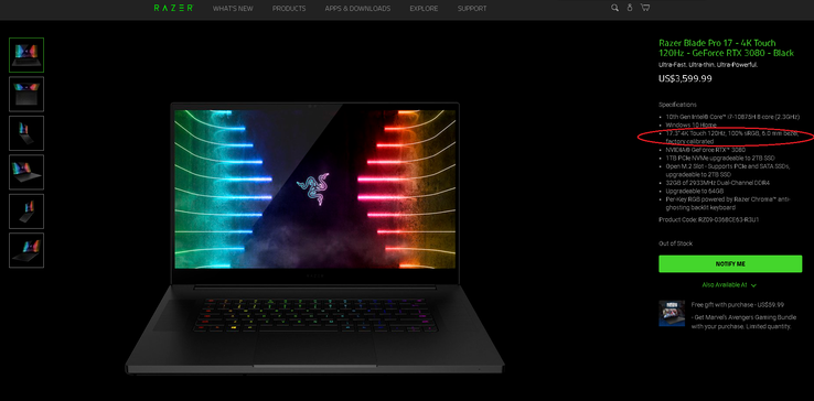 "Razer says the specification on the product page should say ""100% AdobeRGB"" instead of ""100% sRGB"" for the 120 Hz 4K configuration. This error may be fixed at a later date"