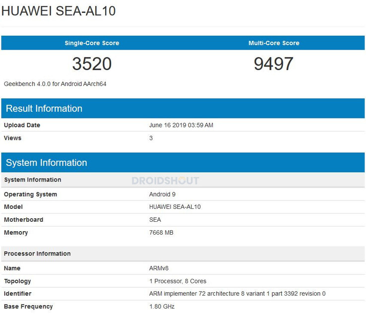 "The ""Nova 5"" Geekbench listing. (Source: DroidShout)"