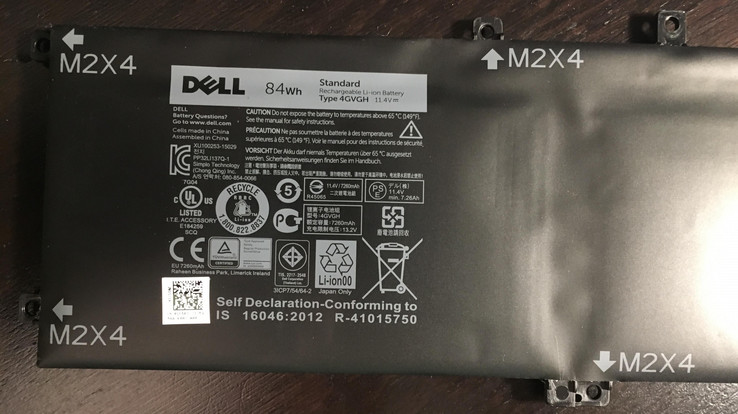 Swollen Dell 84Wh battery in the XPS 15 9550 (Source: User Ford_Power on the Dell Support Forum)