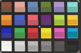 ColorChecker colors. Reference color in lower half of each square.