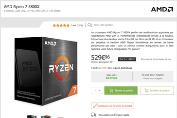 The AMD Ryzen 5 5800X is pricey in France