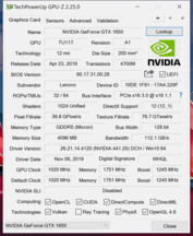 "The ""GeForce GTX 1650"" in the X1 Extreme Gen 2. (Image source: Notebookcheck)"