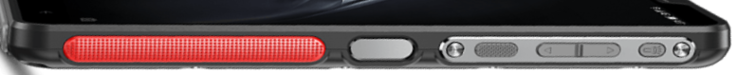 Right-hand side: Fingerprint sensor, Power button, Volume rocker, Flashlight