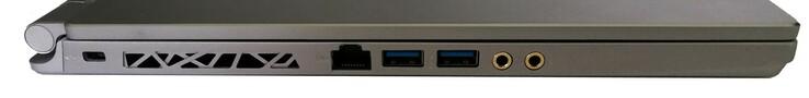Left: Kensington Lock, RJ45-LAN, 2x USB 3.1, headphones, microphone