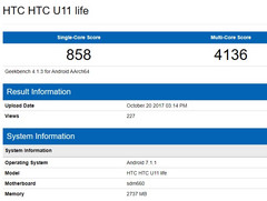 HTC U11 Life details (Source: Geekbench Browser)