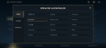 Text language options