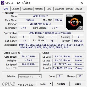 AMD Ryzen 7 3800X OC CPU-Z info. (Source: CPU-Z Validator)