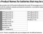 Product lines which include affected units. (Source: HP)